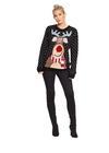 Czarny sweter z  reniferem nos 3D (1)