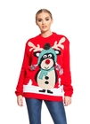 Sweter świąteczny z reniferem Rudolfem - czerwony (1)