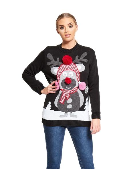 Sweter świąteczny z reniferem Rudolfem - czarny (1)