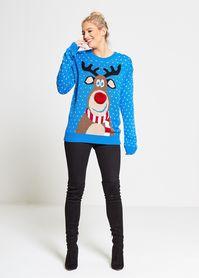 Niebieski sweter z  reniferem nos 3D
