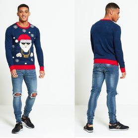 Męski sweter świąteczny z mikołajem BAD SANTA