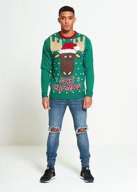 Zielony sweter z reniferem