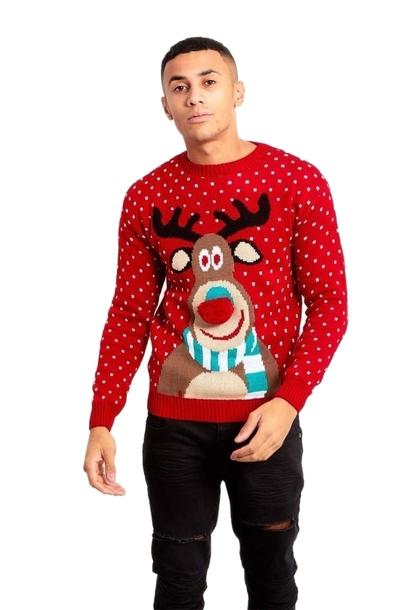 Sweter świąteczny z reniferem nos 3D (1)