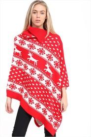 Czerwone świąteczne Poncho