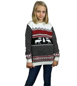 Dziecięcy czarny sweter świąteczny z reniferem