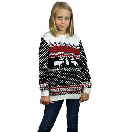 Dziecięcy czarny sweter świąteczny z reniferem (1)