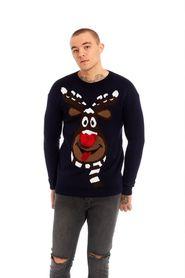 Świąteczny sweter granatowy renifer Rudolf nos 3D