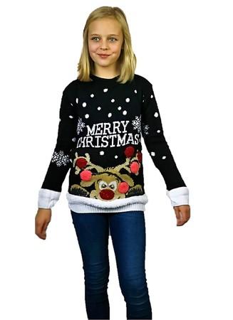 Czarny dziecięcy sweter świąteczny z reniferem Merry Christmas  (1)