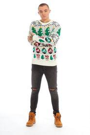 Sweter wzór renifery choinka HO HO HO