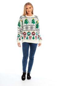 Sweter świąteczny HO HO HO wzór choinka