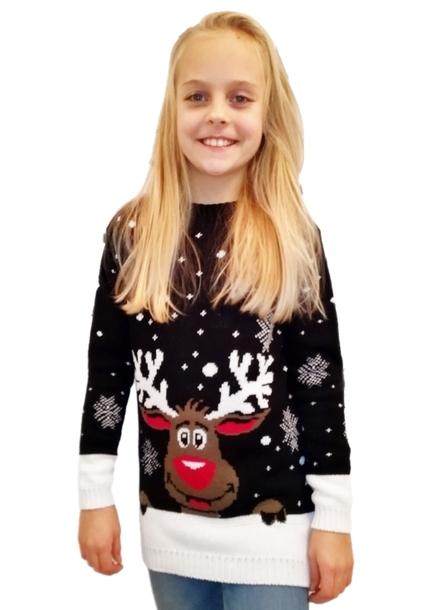Sweter z reniferem dla dziecka - czarny  (1)