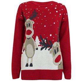 Czerwony sweter z dwoma reniferami
