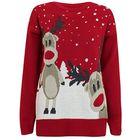 Czerwony sweter z dwoma reniferami  (1)