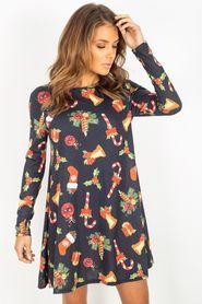 Sukienka w świąteczne wzory mikołaj choinka