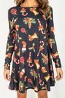Sukienka w świąteczne wzory mikołaj choinka (4)