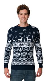 Norweski sweter świąteczny z reniferami - granatowy