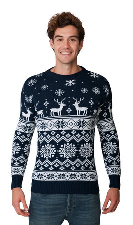 Norweski sweter świąteczny z reniferami - granatowy  (1)