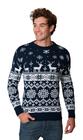 Norweski sweter świąteczny z reniferami - granatowy  (2)