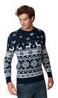 Norweski sweter świąteczny z reniferami - granatowy  (3)