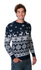 Norweski sweter świąteczny z reniferami - granatowy  (4)
