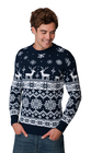 Norweski sweter świąteczny z reniferami - granatowy  (5)