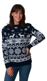 Norweski sweter świąteczny z reniferami kolor - granatowy