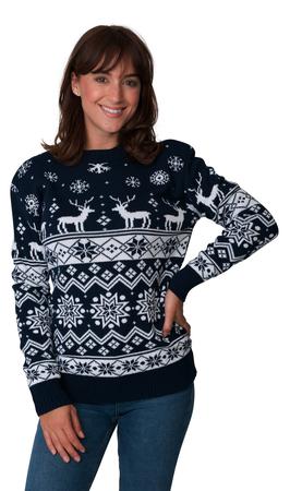 Norweski sweter świąteczny z reniferami kolor - granatowy (1)