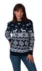 Norweski sweter świąteczny z reniferami kolor - granatowy (2)