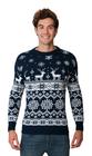 Norweski sweter świąteczny z reniferami kolor - granatowy (6)