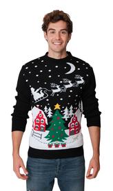 Czarny sweter świąteczny z choinką