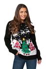 Czarny sweter świąteczny z choinką  (2)