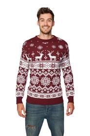Sweter świąteczny norweski w renifery - bordowy