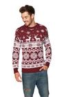 Sweter świąteczny norweski w renifery - bordowy (2)