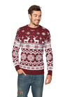 Sweter świąteczny norweski w renifery - bordowy (3)