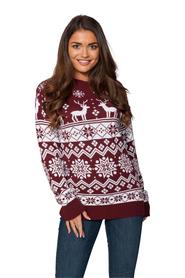 Sweter świąteczny norweski w renifery kolor bordowy