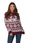 Sweter świąteczny norweski w renifery kolor bordowy (2)