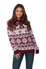 Sweter świąteczny norweski w renifery kolor bordowy (3)