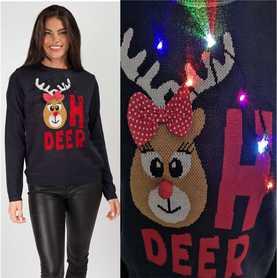 Granatowy sweter świąteczny z lampkami - świecący