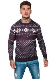 Norweski sweter świąteczny w renifery śnieżki - Granatowy