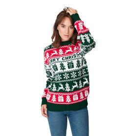Sweter świąteczny wzór norweski kolor zielony