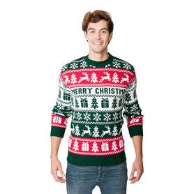 Sweter świąteczny dla niego wzór norweski kolor zielony