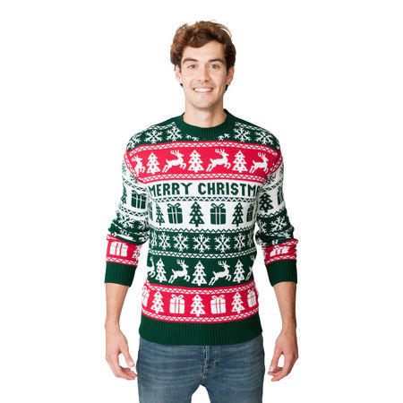 Sweter świąteczny dla niego wzór norweski kolor zielony  (1)