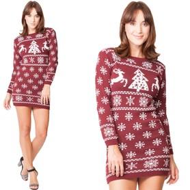 Sukienka świąteczna w renifery - wino