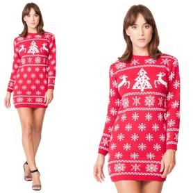 Sukienka świąteczna w renifery - kolor czerwony