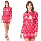 Sukienka świąteczna w renifery - kolor czerwony  (1)