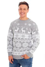 Sweter świąteczny jasno szary w stylu norweskim