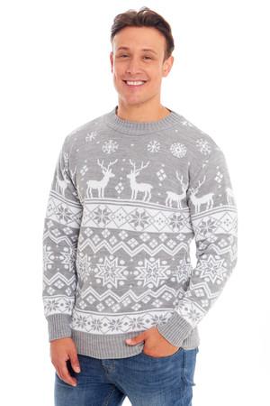 Sweter świąteczny jasno szary w stylu norweskim  (1)