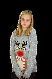 Dziecięcy sweter świąteczny z reniferem kolor -szary