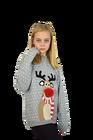 Dziecięcy sweter świąteczny z reniferem kolor -szary (2)