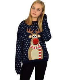 Dziecięcy sweter świąteczny z reniferem kolor - granatowy